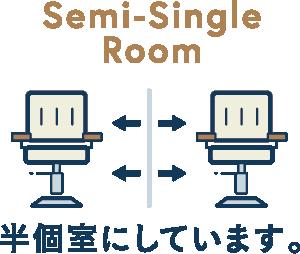 半個室にしています。